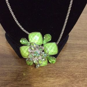 """Statement necklace green and silver 24"""" chain"""